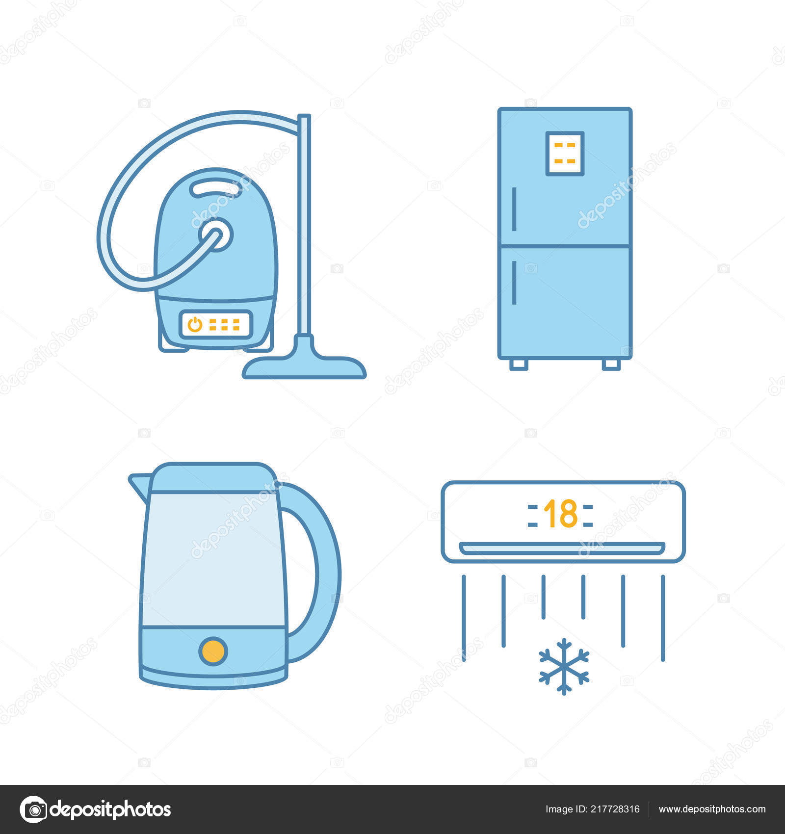 Swell Household Appliance Color Icons Set Vacuum Cleaner Fridge Electric Wiring Cloud Hisonuggs Outletorg