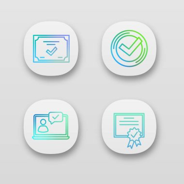 Approve app icons set. Chat approved, certificate, check mark. icon