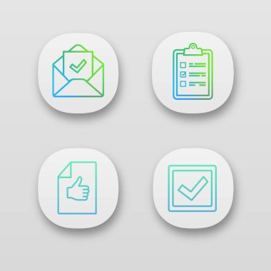Approve app icons set. Task planning, email confirmation, checkbox, approval document. icon