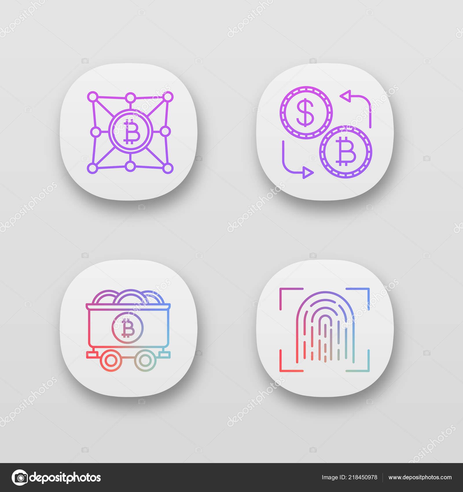 Bitcoin Kryptowährung App Symbole Festgelegt Benutzeroberfläche