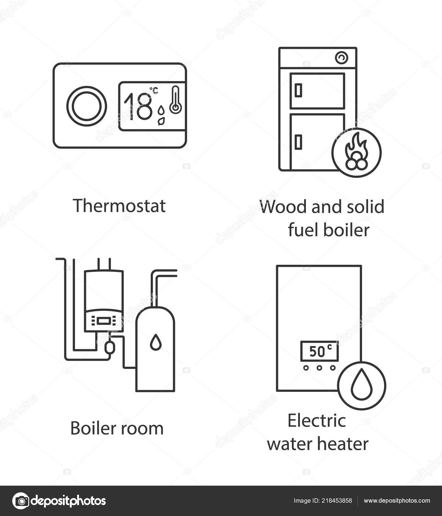 Heating Linear Icons Set Digital Thermostat Solid Fuel Boiler Boiler