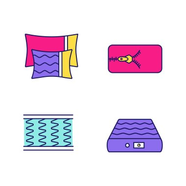 Orthopedic mattress color icons set. Pillows, removable cover, spring and air mattresses. Isolated vector illustrations