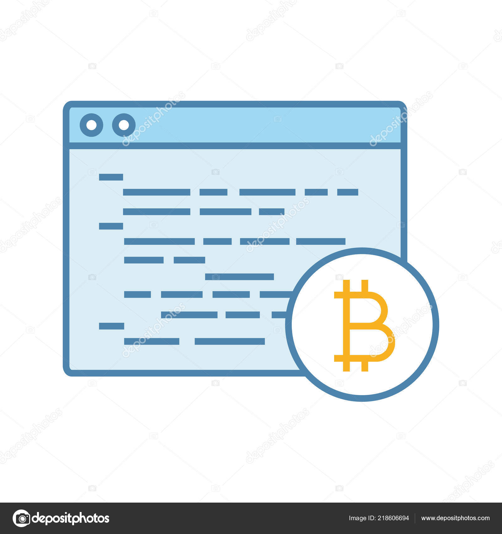 Bitcoin Mining Software Color Icon Blockchain Coding Crypto
