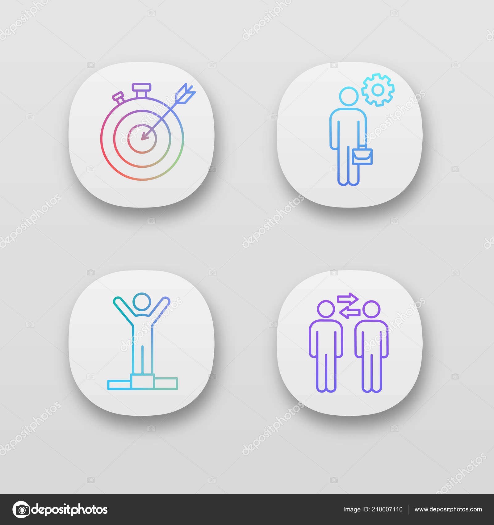 Business Management App Icons Set User Interface Smart Goal
