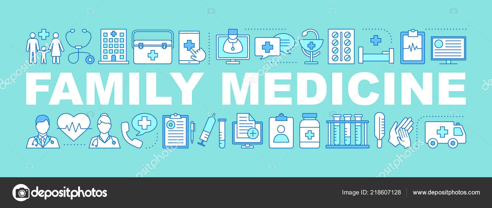 Family Medicine Word Concepts Banner Medicine Healthcare Diseases Diagnosis Treatment Stock Vector C Bsd 218607128