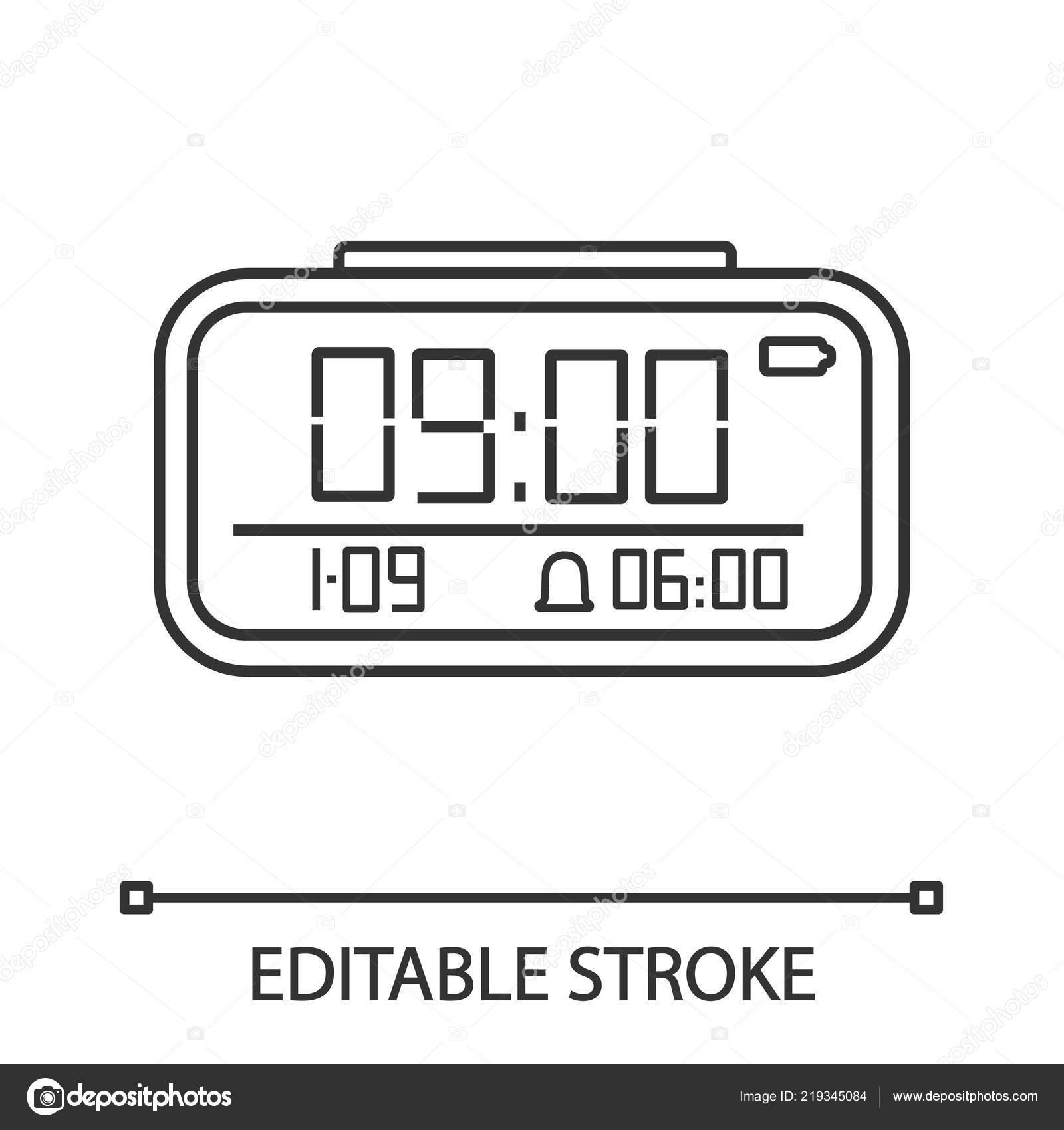 Digital Alarm Clock Linear Icon Electronic Clock Thin Line