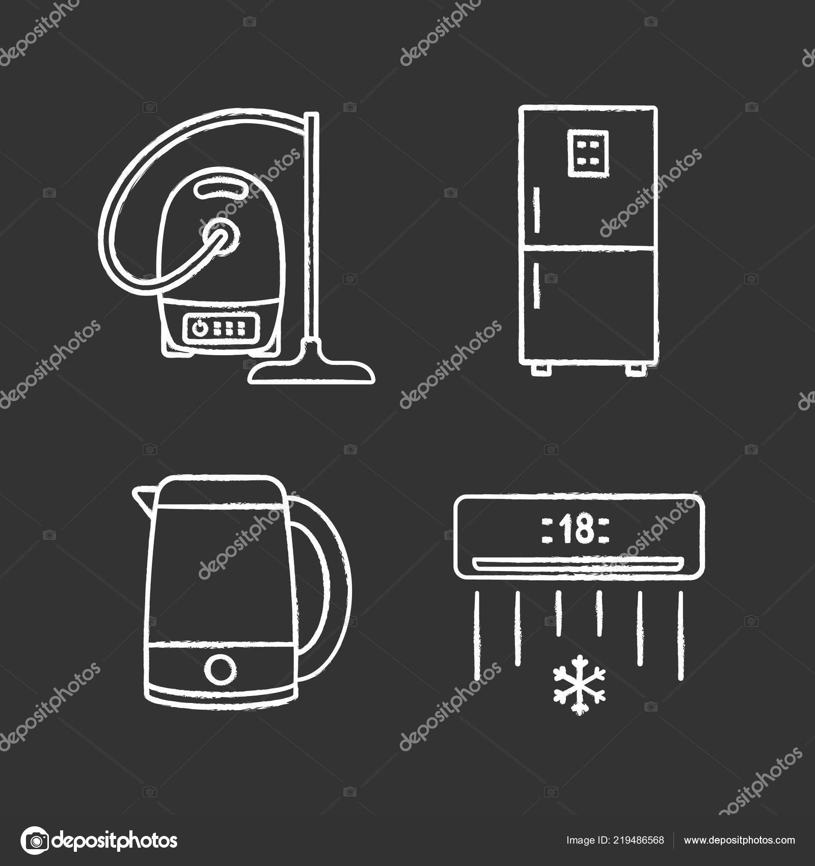 Marvelous Household Appliance Chalk Icons Set Vacuum Cleaner Fridge Electric Wiring Cloud Hisonuggs Outletorg