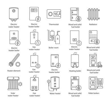 Heating linear icons set. Thin line contour symbols. Boilers, radiators, thermostat. Gas, electric, solid fuel, pellet, solar boilers. Isolated vector outline illustrations. Editable stroke clip art vector