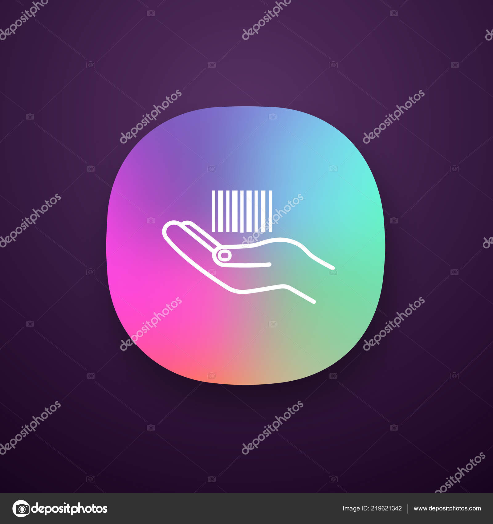 Hand Holding Barcode App Icon Interface One Dimensional Code