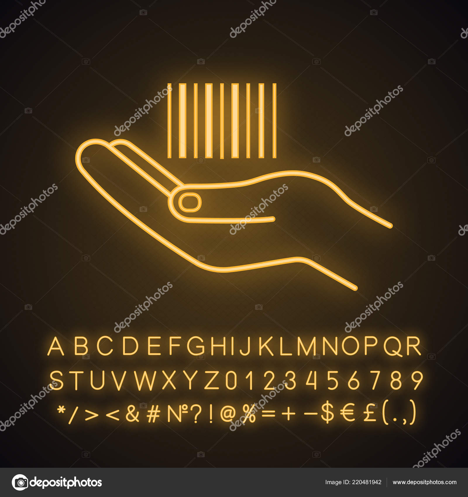 Hand Holding Barcode Neon Light Icon One Dimensional Code Barcode