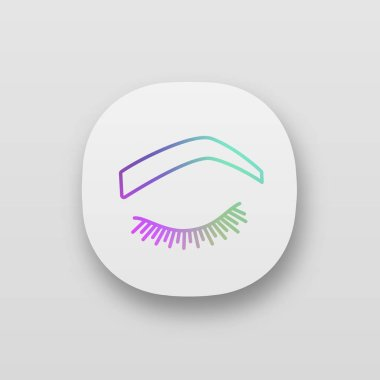 Steep arched eyebrow shape app icon. Soft angled eyebrows. Brows shaping by tattooing. Closed woman eye. UI/UX user interface. Web or mobile application. Vector isolated illustration