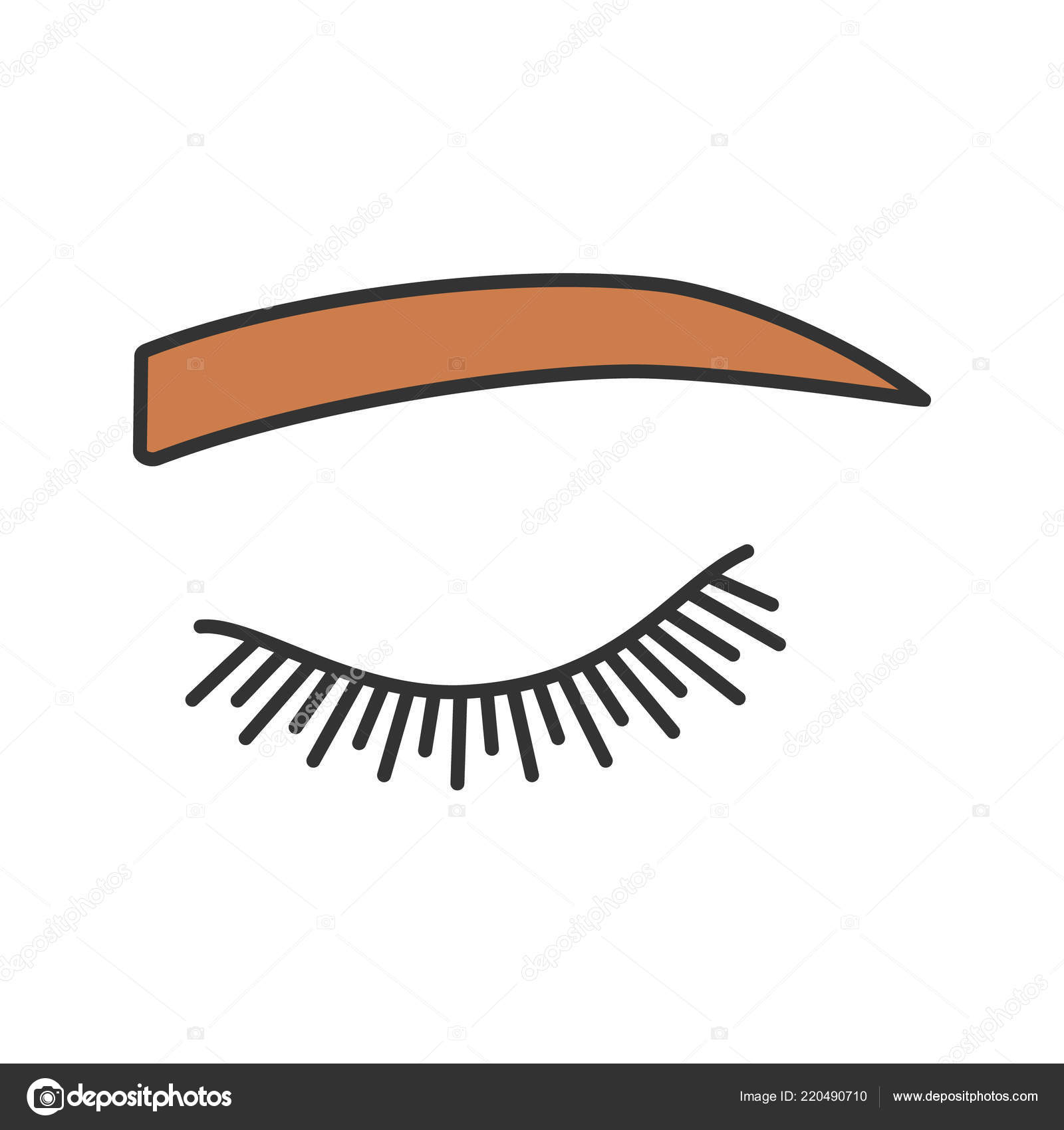 980ade38362 Straight Eyebrow Shape Color Icon Flat Eyebrows Brows Shaping Tattooing —  Stock Vector