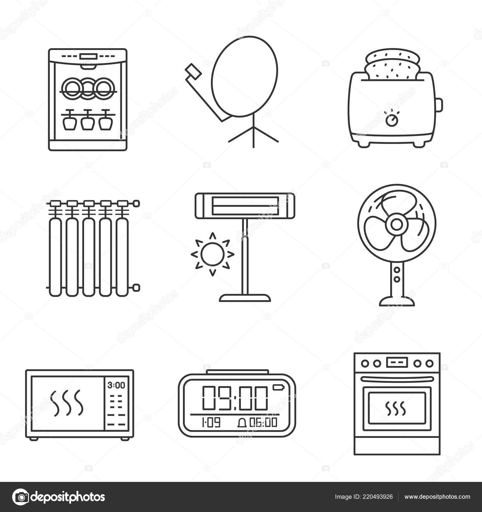 Household Appliance Linear Icons Set Dishwasher Satellite