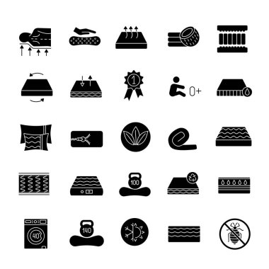 Mattress glyph icons set. Latex, innerspring and memory foam mattresses. Breathable, ecological, anatomic, waterproof bedding, antiallergic. Silhouette symbols. Vector isolated illustration