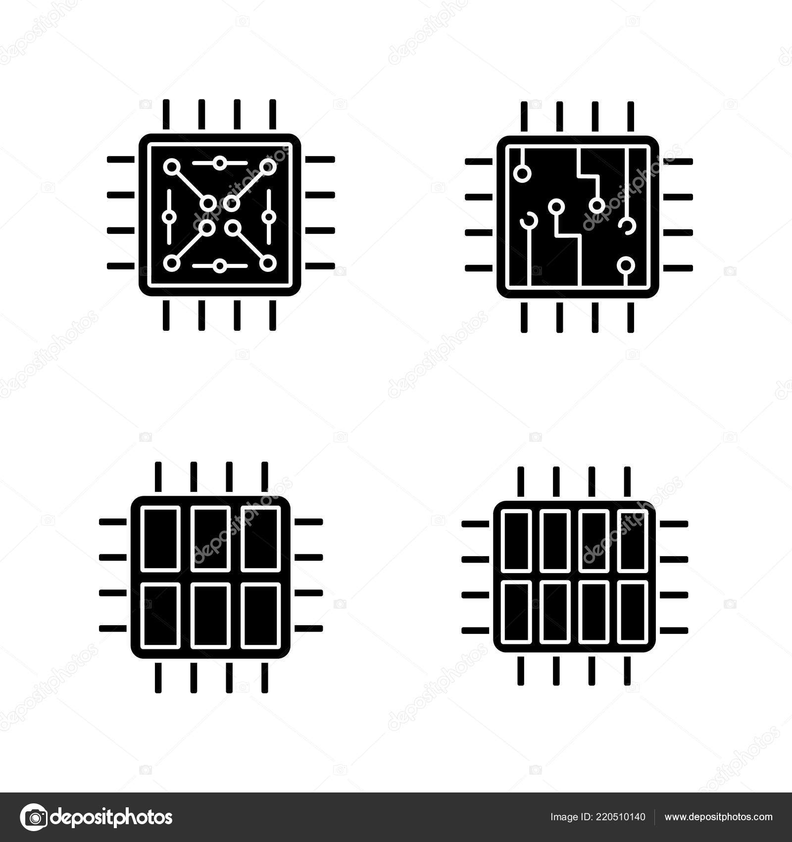Processors Glyph Icons Set Chip Microprocessor Integrated Unit Six Circuit Symbols Components And Octa Core Silhouette Vector Isolated Illustration By Bsd