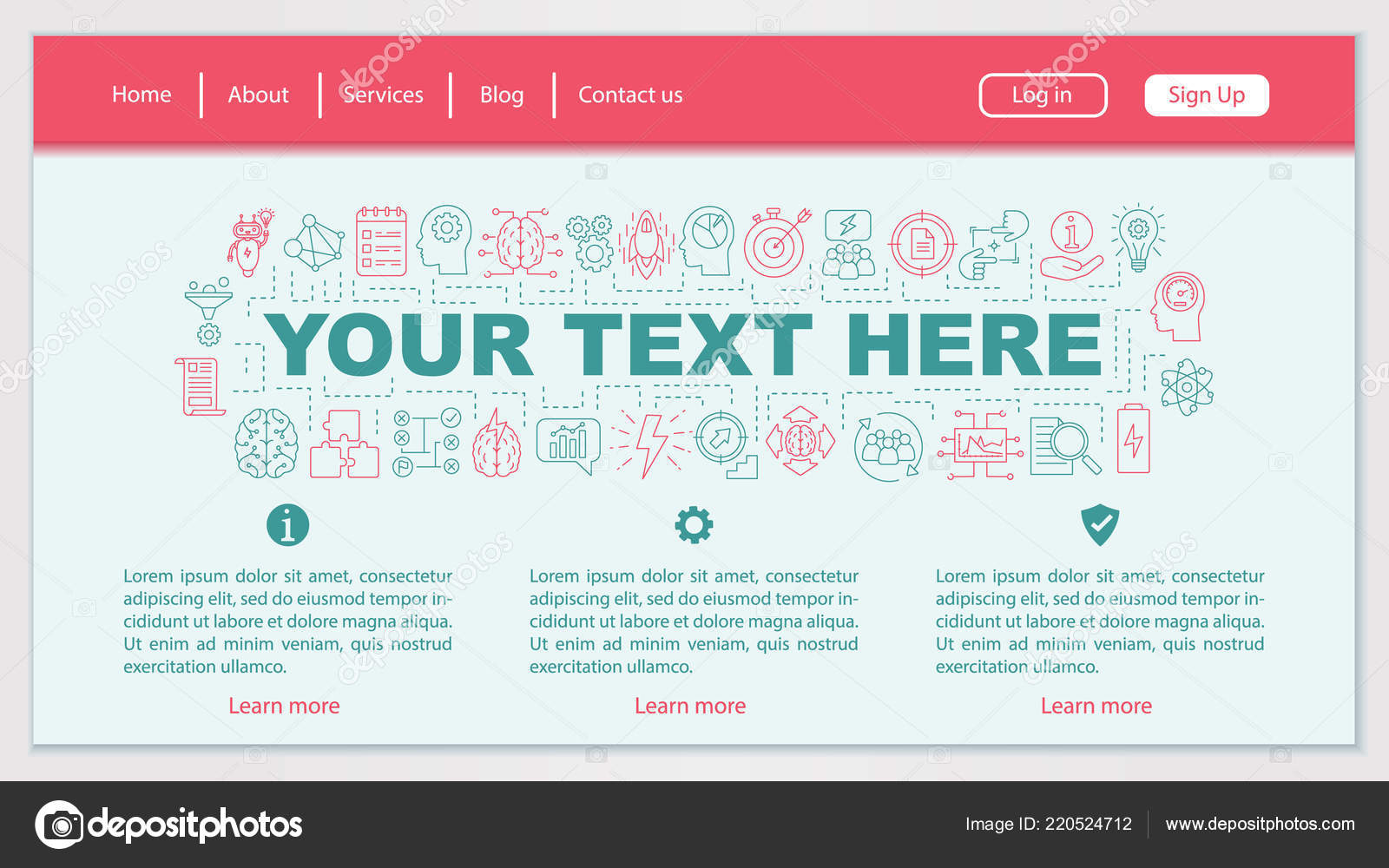 ideas generation web page design vector template brainstorming