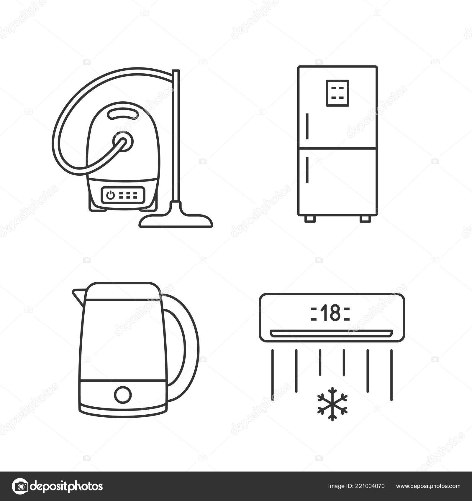 Diagram Of Electric Air Conditioner Cleaning Wiring Libraries Vacuum Cleaner Diagramshousehold Appliance Linear Icons Set Fridge