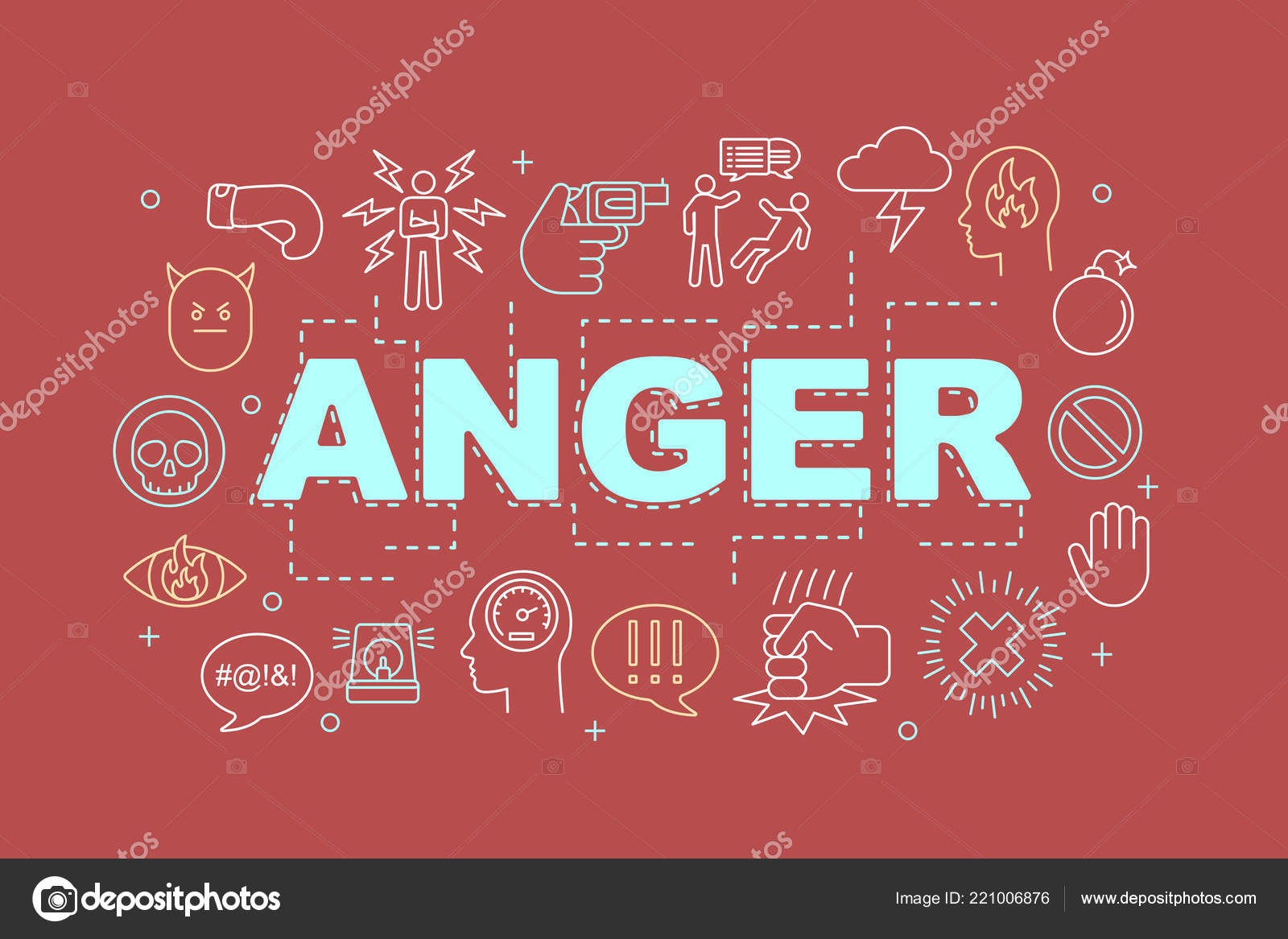 Anger Word Concepts Banner Presentation Website Stress Burnout Irritation Isolated Stock Vector C Bsd 221006876
