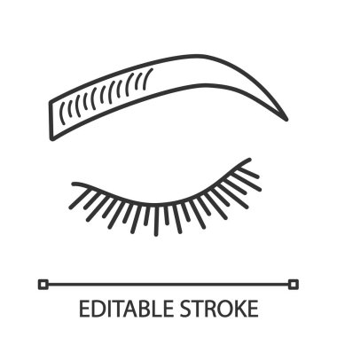 Microblading eyebrows linear icon. Thin line illustration. Eyebrows tinting. Permanent makeup. Brows shaping by tattooing. Pigment application. Contour vector isolated outline drawing. Editable stroke
