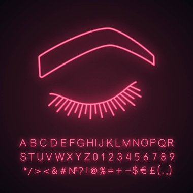 Steep arched eyebrow shape neon light icon. Soft angled eyebrows. Brows shaping by tattooing. Closed woman eye. Glowing sign with alphabet, numbers and symbols. Vector isolated illustration