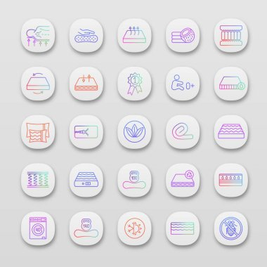 Orthopedic mattress app icons set. UI/UX user interface. Latex, innerspring and memory foam mattresses. Breathable, ecological, anatomic, waterproof bedding, antiallergic. Vector isolated illustration