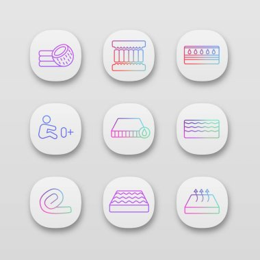 Mattress app icons set. UI/UX interface. Coconut fiber, memory foam filler, waterproof, orthopedic, water, springless roll up, breathable, mattresses allowed for newborn. Vector isolated illustrations