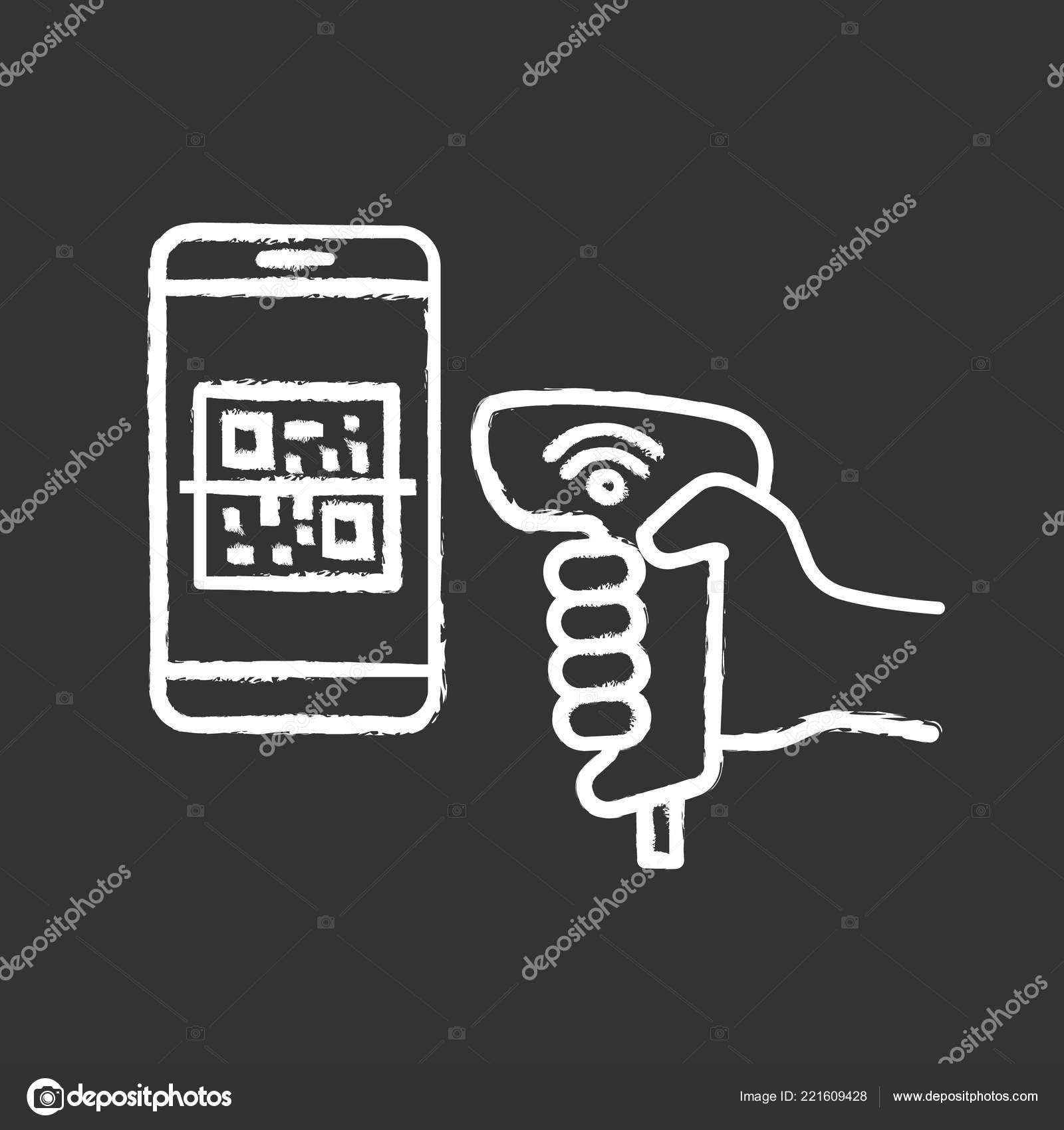 Payment Code Scanner Scanning Phone Screen Chalk Icon Wifi