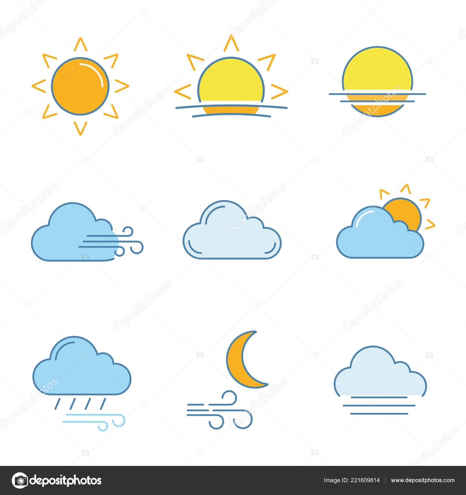 Weather Forecast Color Icons Set Sun Sunrise Sunset Wind