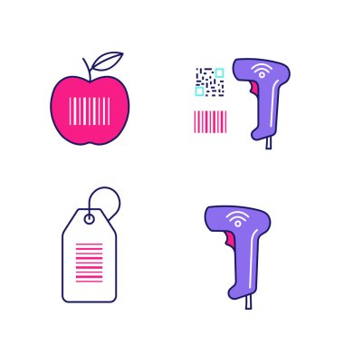 Brcodes color icons set. Product barcode, qr and linear codes scanner, hang tag, wireless handheld reader. Isolated vector illustrations