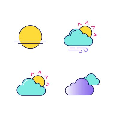 Weather forecast color icons set. Sunrise, sunset, partly cloudy and windy weather, clouds. Isolated vector illustrations icon