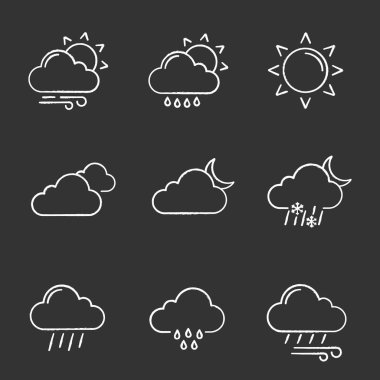 Weather forecast chalk icons set. Partly cloudy and windy weather, drizzle rain, sun, clouds, night, pouring and drizzle rain, wind, overcast, sleet. Isolated vector chalkboard illustrations icon