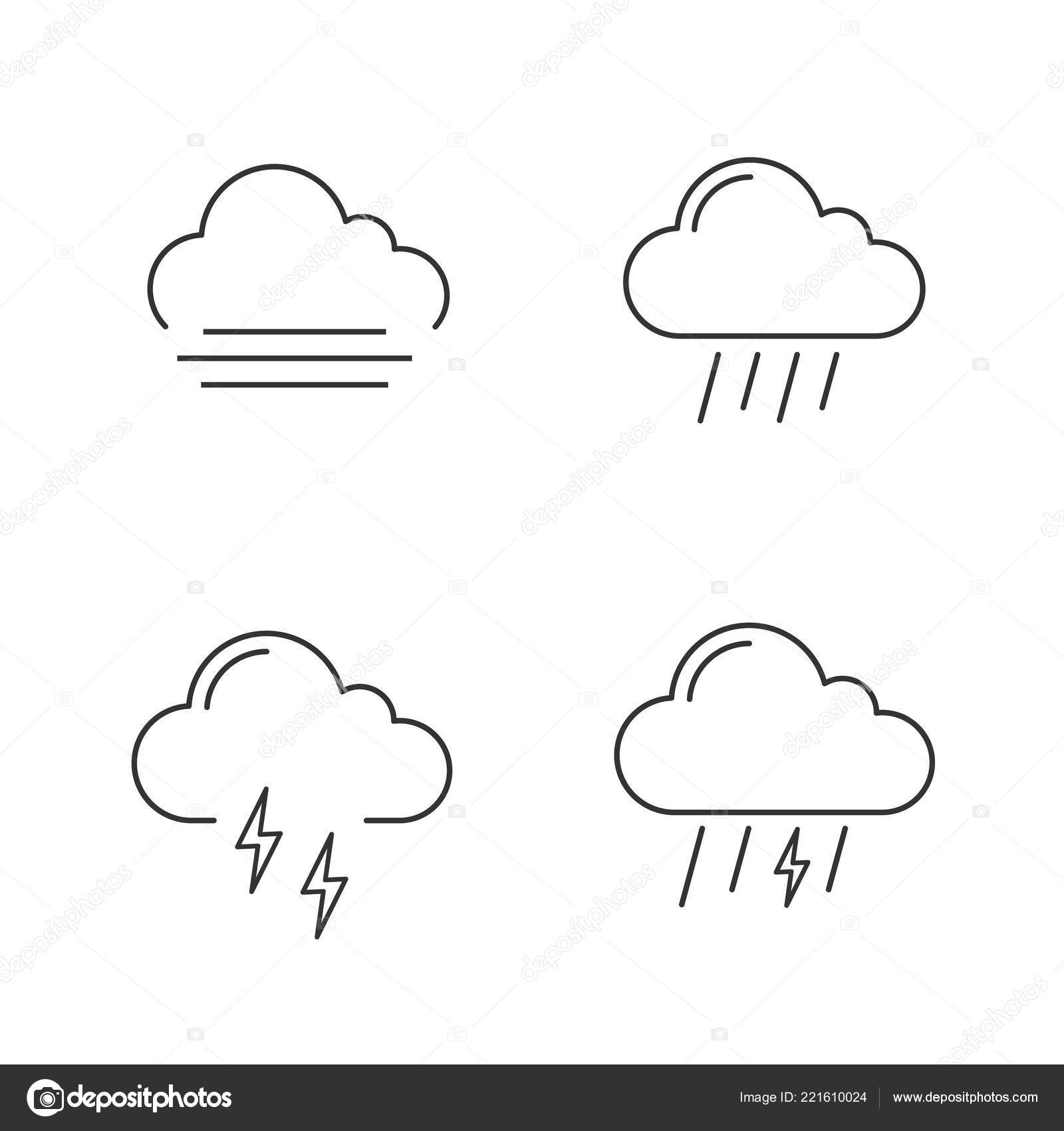 Weather Forecast Linear Icons Set Autumn Fog Rainy Weather
