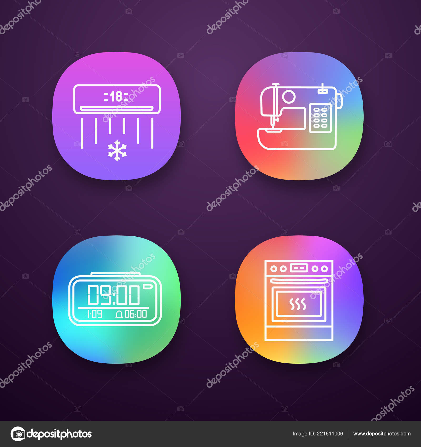 Household Appliance App Icons Set Air Conditioner Sewing Machine