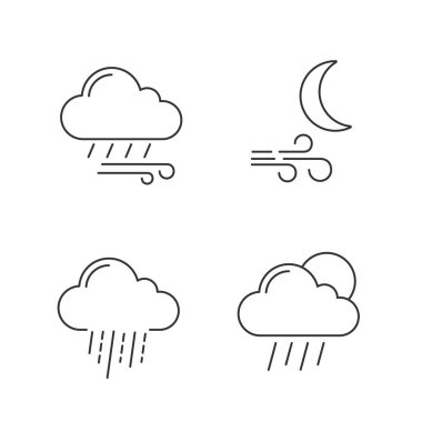 Weather forecast linear icons set. Windy rainy weather, wind at night, heavy rain, scattered shower. Thin line contour symbols. Isolated vector outline illustrations. Editable stroke icon