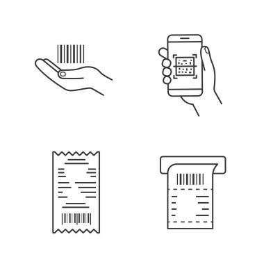 Barcodes linear icons set. Linear barcode in hand, QR codes scanning app, cash receipt, ATM paper check. Thin line contour symbols. Isolated vector outline illustrations. Editable stroke