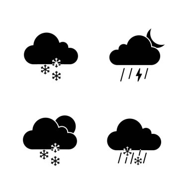 Weather forecast glyph icons set. Light snow, night thunderstorm, scattered snow, sleet weather. Silhouette symbols. Vector isolated illustration icon