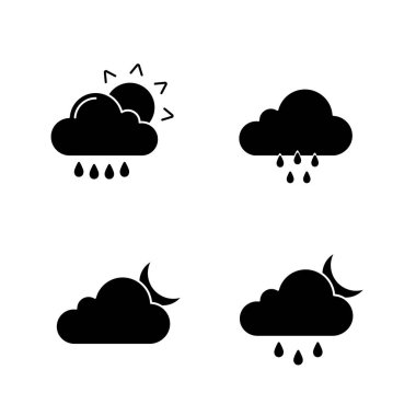 Weather forecast glyph icons set. Rain with sun, rainy weather, cloudy night, drizzle and scattered shower. Silhouette symbols. Vector isolated illustration icon