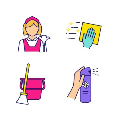 Cleaning service color icons set. Maid, cleaning napkin, broom and bucket, air freshener. Isolated vector illustrations icon