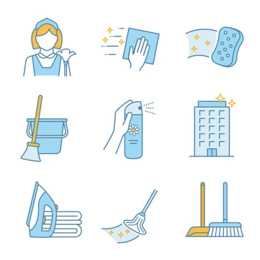 Cleaning service color icons set. Maid, napkin, sponge, broom and bucket, air freshener, ironing, offices cleaning, scoop, brush, mop. Isolated vector illustrations icon