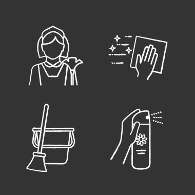 Cleaning service chalk icons set. Maid, cleaning napkin, broom and bucket, air freshener. Isolated vector chalkboard illustrations icon
