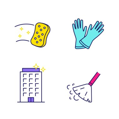 Cleaning service color icons set. Household gloves, sweeping broom, sponge, clean offices. Isolated vector illustrations icon