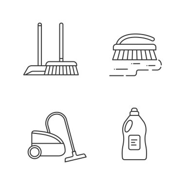 Cleaning service linear icons set. Scoop and sweeping brush, vacuum cleaner, scrub brush, cleaning product. Thin line contour symbols. Isolated vector outline illustrations. Editable stroke icon