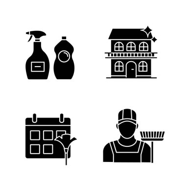 Cleaning service glyph icons set. Sweeper, cleaning schedule, cleaners, cottage. Silhouette symbols. Vector isolated illustration icon