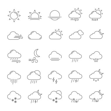 Weather forecast linear icons set. Snow, rain, sleet. Shower or drizzle, thunderstorm. Sunny, cloudy, foggy and windy weather. Contour symbols. Isolated vector outline illustrations. Editable stroke icon