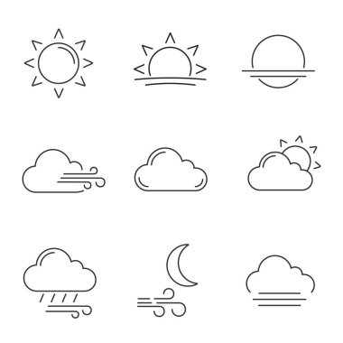 Weather forecast linear icons set. Sun, sunrise, sunset, wind, cloud, partly cloudy weather, pouring rain, windy night, fog. Contour symbols. Isolated vector outline illustrations. Editable stroke icon