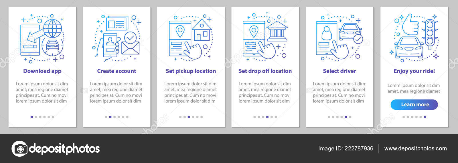 Carpooling Onboarding Mobile App Page Screen Linear Concepts Ride