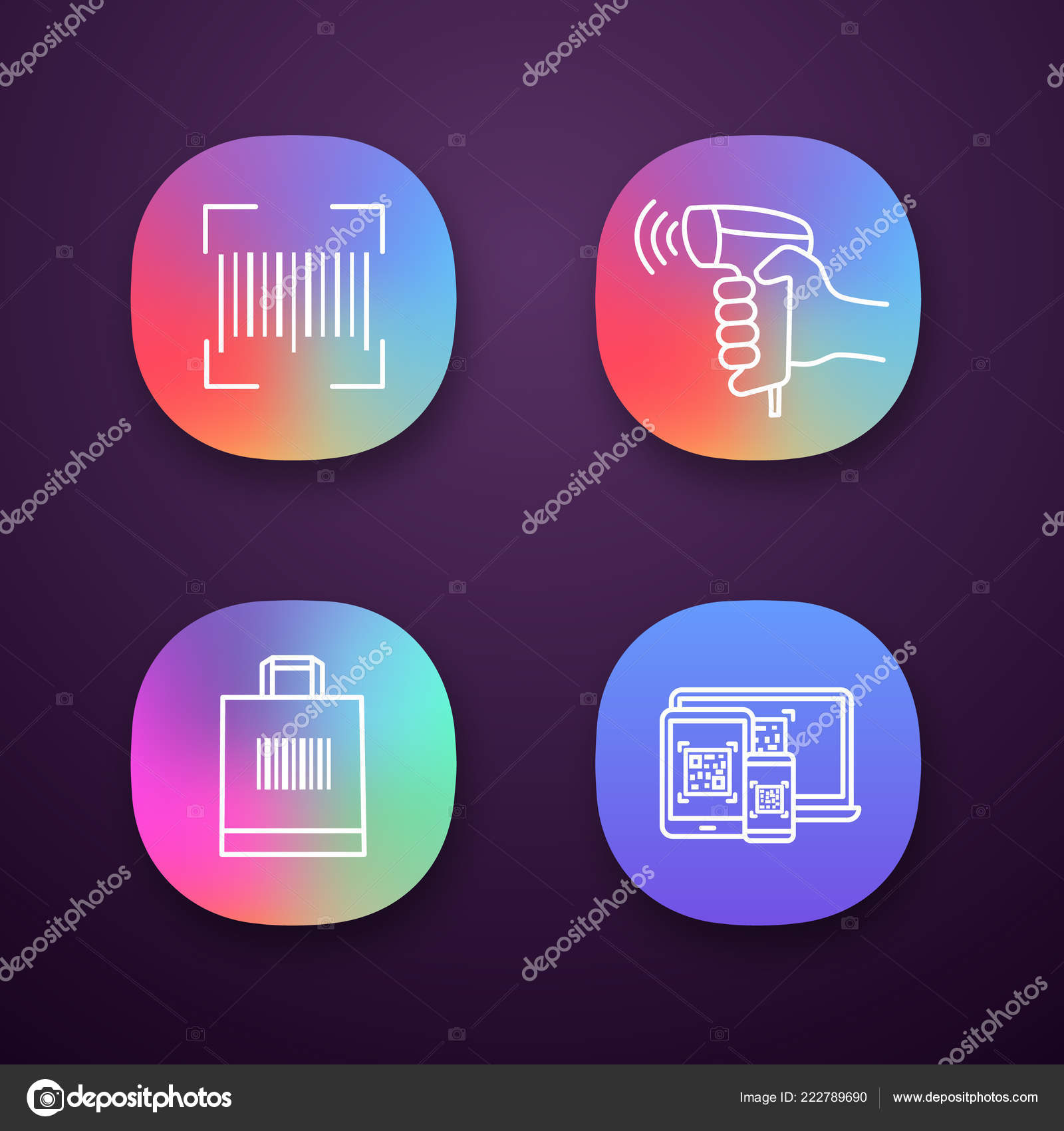 Barcodes App Icons Set Linear Code Handheld Barcode Scanner