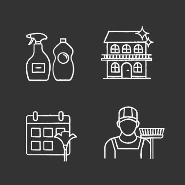 Cleaning service chalk icons set. Sweeper, cleaning schedule, cleaners, cottage. Isolated vector chalkboard illustrations icon