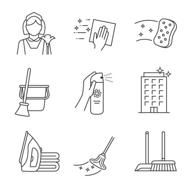 Cleaning service linear icons set. Maid, napkin, sponge, broom and bucket, air freshener, ironing, offices cleaning, scoop, brush, mop. Contour symbols. Isolated vector illustrations. Editable stroke icon