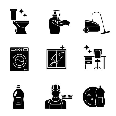 Cleaning service glyph icons set. Mop, scrub brush, hands soap, vacuum cleaner, detergent, tidy table, dishwash, toilet and windows cleaning. Silhouette symbols. Vector isolated illustration icon